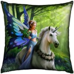 Realm of Enchantment Cushion shows a fairy with a unicorn and a dragon in a green forest