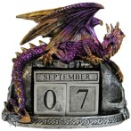Nightwynd Dragon Calendar shows a dragon protecting the date cubes and month blocks of a perpetual calendar