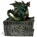 Knowledge Keeper Dragon Box shows a green dragon sitting on the lid of a celtic book box