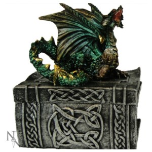 Knowledge Keeper Box shows a green dragon sitting on the lid of a celtic book box