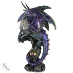 Armoured Protector Dragon Figurine shows a purple dragon with a metallic-looking breast-plate