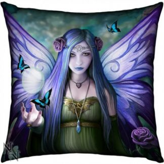 The Mystic Aura cushion shows a purple winged fairy with a crystal ball and butterflies