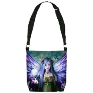 Mystic Aura Shoulder Bag shows a purple winged fairy with butterflies and a crystal ball
