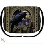 The Talisman Messenger Bag shows the image of a raven with a pentacle in its beak.