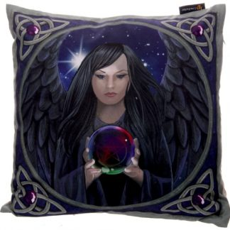 Dark Angel with Crystal Ball Cushion shows the angel holding a crystal ball with Celtic triquetras in the corners