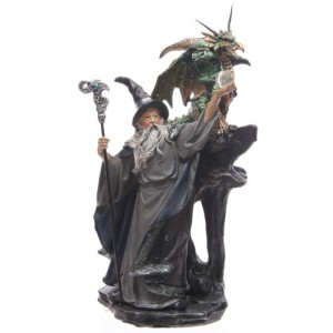 Dragon and Wizard Holding Staff Figurine shows a wizard holding a staff and a crystal ball with a dragon