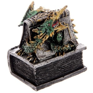 Dark Legends Green Dragon Trinket Box shows a dragon emerging from a book with a celtic book box base