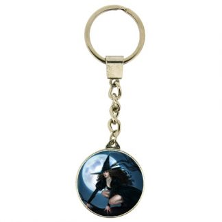 Pink Witch Keyring shows a young witch riding her broomstick with a full moon in the background
