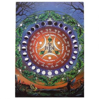 Moon Calendar Card within a circle of oak leaves and acorns are the phases of the moon