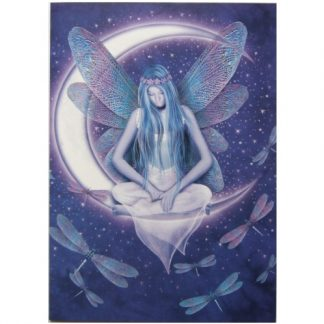 Moon Fairy Card shows a dragonfly-winged fairy sitting upon a crescent moon