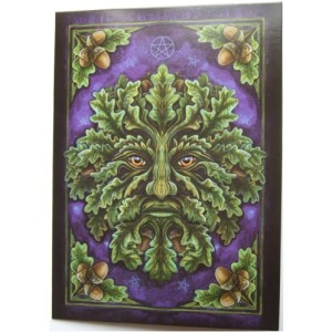 Spirit of the Oak Card shows a Green Man emerging from the greenery against a dark blue background with oak leaves and acorns