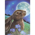 Moon Gazing Hare Card shows a hare in a field of blue flowers with a full moon