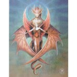 Copperwing Canvas Wall Plaque shows a dragon with metallic copper wings with a fiery-winged angel