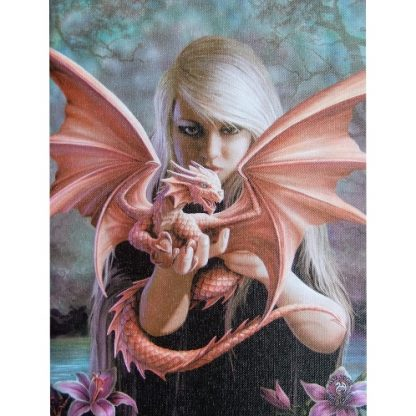 Dragonkin Canvas Wall Plaque shows a girl holding her baby dragon