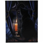 Midnight Vigil Canvas Wall Plaque shows a black mystical cat looking out of a window at night illuminated by a candle
