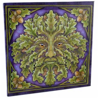 Spirit of the Oak Canvas Wall Plaque shows a green man with oak leaves and acorns set against a deep blue background