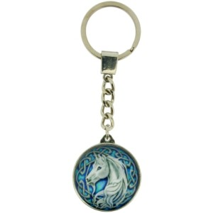 Unicorn Keyring shows a unicorn against a blue background