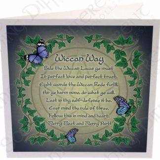 Wiccan Rede Card feaures a poem including the principles of wiccan belief