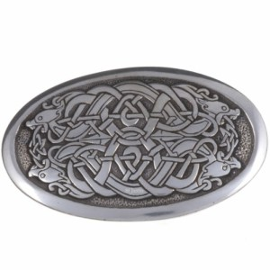 Serpent Oval Belt Buckle with 4 serpent's heads entwined in a celtic design