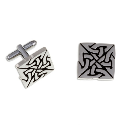 Square Knot T-Bar Cuff Links with 4 triangular celtic knots to form a square