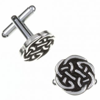 Lugh's Knot T-Bar Cuff Links have a round Celtic knot design