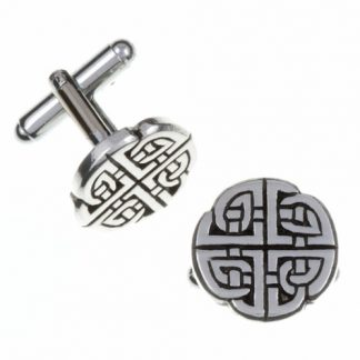Quadrant Knot T-Bar Cuff Links have 4 entwined Celtic designs which make a circular shape