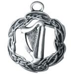 The Harp of Brian Boru Pendant shows an irish harp with a celtic border