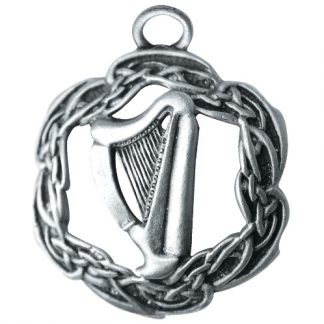The Harp of Brian Boru Pendant shows an irish harp with a celtic border