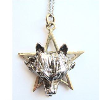 Night of the Wolf Pendant shows a wolf's head set upon a pentagram star