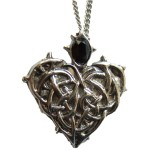 Barbed Heart Pendant has a faceted black stone at the top
