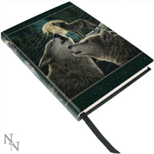 Wolf Song Embossed Journal shows 3 wolves in a forest set against a full moon