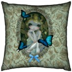 Lily cushion shows a fairy with butterflies