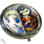 Alice and Snow White Compact Mirror has the images of Alice in Wonderland and Snow White