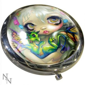 Darling Dragonling Compact Mirror showing a dragon and a fairy