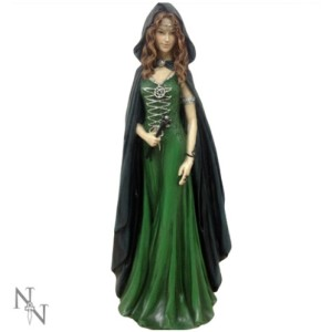 Enchantress of the Forest Witch Figurine shows a figure dressed all in green