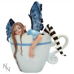 I Need Coffee Fairy Figurine shows a fairy who has gone to sleep in a coffee cup
