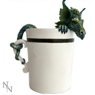 Good Morning Dragon Figurine shows a dragon in a cup