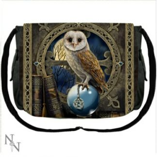 Spell Keeper Messenger Bag shows an owl perched upon a crystal ball