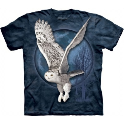 Snow Owl Moon T Shirt shows a beautiful owl in flight with the moon in the background