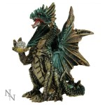 Icefyre Dragon Figurine shows a green and gold dragon holding a sparkly ball