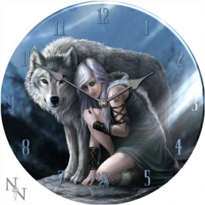Protector Glass Clock shows a fair-haired girl and her wolf