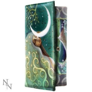 Earth and Moon Purse shows a moon goddess shedding her light on the earth below