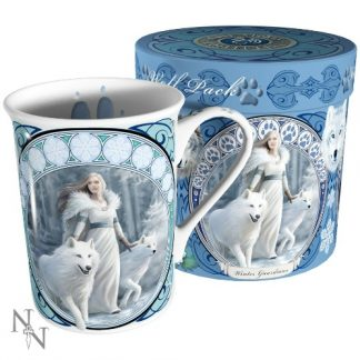 Winter Guardians Mug shows a young woman with 2 white wolves in a snowy forest