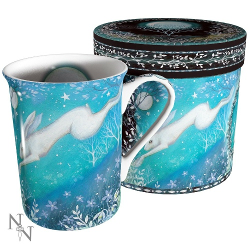 Moonlight Mug shows a hare in mid-leap with flowers and foliage and a full moon and stars