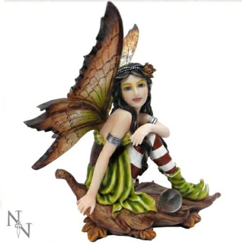 Maraliz Fairy Figurine sitting on an autumnal leaf