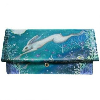 Moonlight Purse shows a hare in mid-leap with flowers and foliage and a full moon and stars