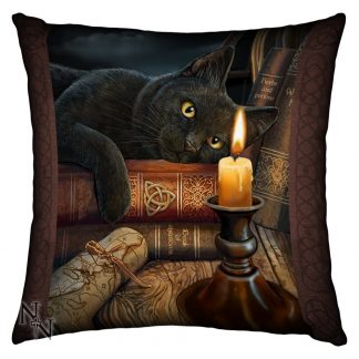 Witching Hour Satin Finish Cushion shows a black mesmerised by a flickering candle