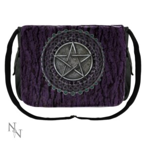 Pentagram Purple Messenger Bag has a pentacle surrounded by a Celtic knot circle