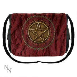 Pentagram Red Messenger Bag has a pentacle surrounded by a Celtic knot circle