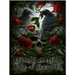 Sorrow for the Lost 3D Picture shows 2 ravens sitting on a skull surrounded by red roses on thorny stems
